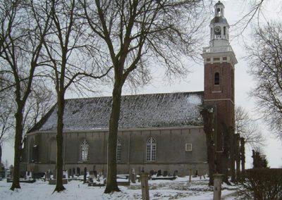 Kerkgebouw Tjamsweer in de winter